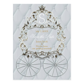 White & Gold Royal Crown Carriage Save The Date Postcard