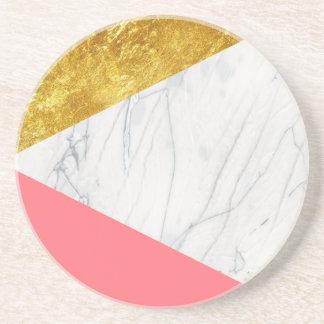 White Gold Salmon Marble Sandstone Coaster