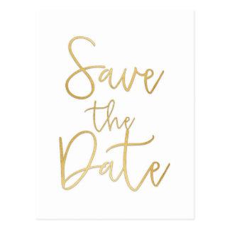 White & Gold SAVE THE DATE Modern Script Postcard