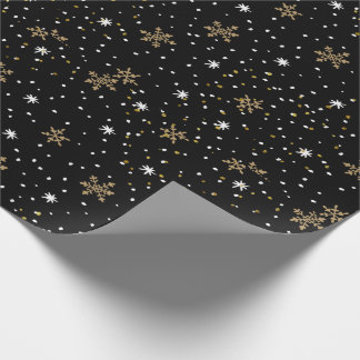 White Gold Snowflakes Christmas Wrapping Paper