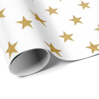 White Gold Stars Confetti Delicate US UK Wrapping Paper