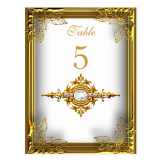 White Gold Table Number Seating Place Card