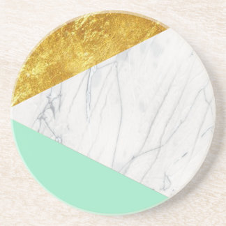 White Gold Teal Marble Coaster