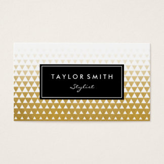 White & Gold Triangle Pattern Business Card