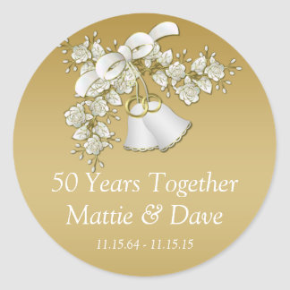 White Gold Wedding Bells Flowers 50th Anniversary Round Sticker