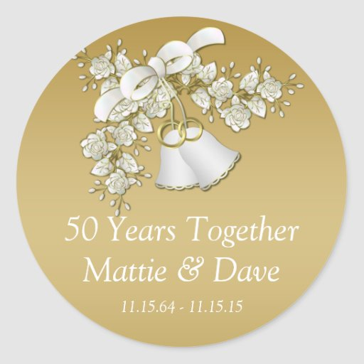 white gold wedding bells flowers 50th anniversary round