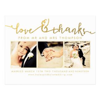 White Gold Wedding Love & Thanks Script Photo Postcard