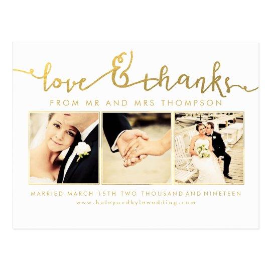 White Gold Wedding Love & Thanks Script Photo