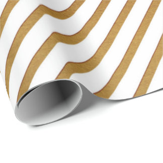 White Golden Delicate Stripes Lines Urban Wrapping Paper