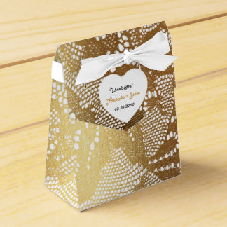 White Golden Glam Lace Wedding Favor Thank You Favour Box