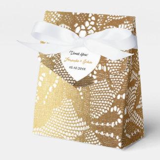 White Golden Glam Lace Wedding Favor Thank You Wedding Favour Box