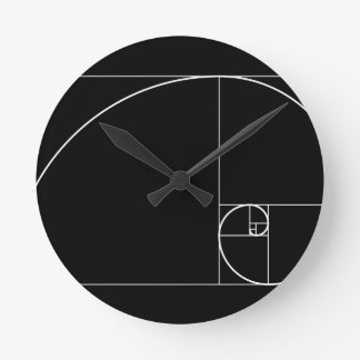 White Golden Spiral Round Clock