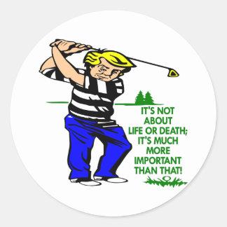 White Golf Life Death Round Sticker