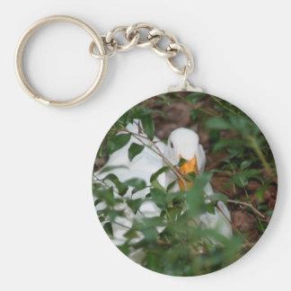 White Goose Hiding Animal Keychain
