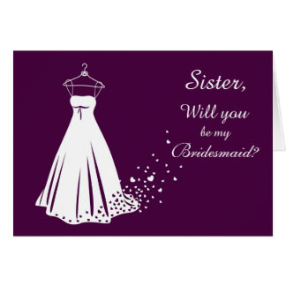 White gown, heart on purple Sister Bridesmaid card