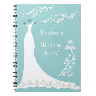 White gown on aqua Wedding Planner Notebook