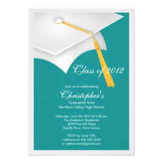 White Grad Cap Graduation Party Invitation