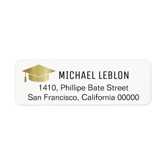 white graduation address label with name