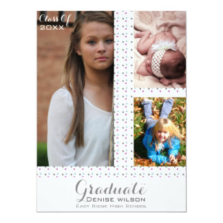White Graduation Photo Invitation