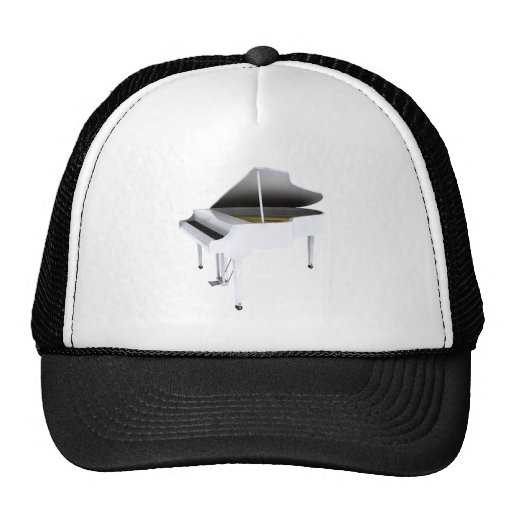 White Grand Piano: 3D Model: Mesh Hat