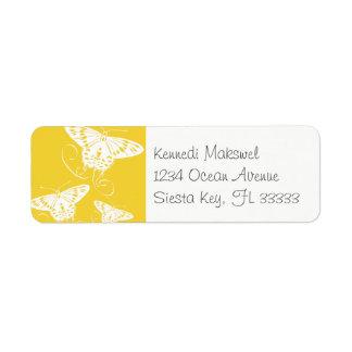 White Graphic Butterflies Bright Yellow Background Return Address Label