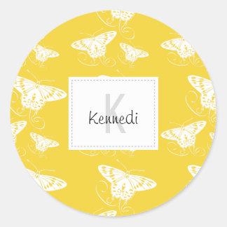 White Graphic Butterflies on Bright Yellow Sticker