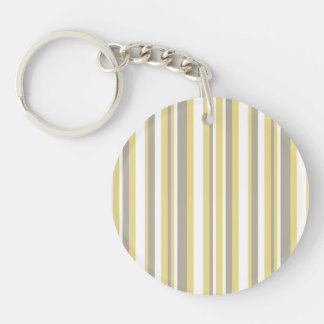 White, Gray and Beige Vertical Stripe Pattern Double-Sided Round Acrylic Key Ring