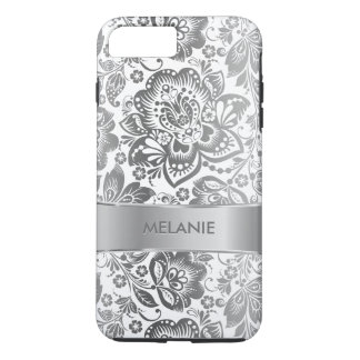 White & Gray Baroque Flowers Pattern iPhone 7 Plus Case