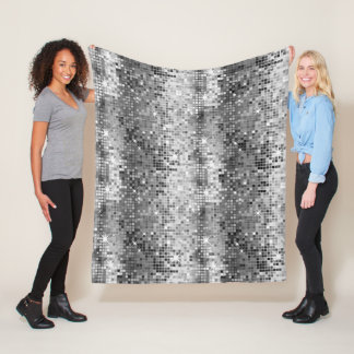 White & Gray Disco Glitter Sparkles Fleece Blanket