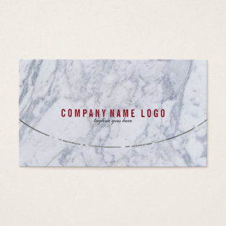 White & Gray Faux Marble Silver Accents Business Card