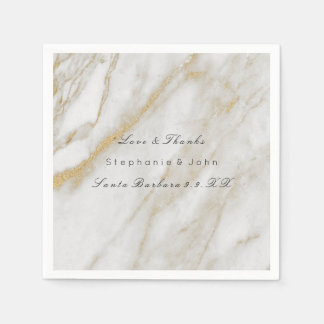 White Gray Gold  Abstract Stone  Marble Wedding Paper Napkin