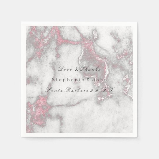 White Gray Gold  Pink Rose Stone  Marble Wedding Paper Napkins