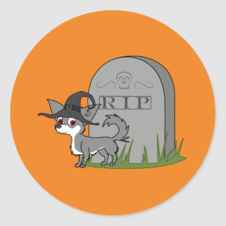 White & Gray Long Haired Chihuahua with Grave Round Sticker