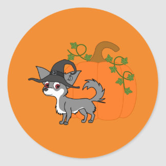 White & Gray Long Haired Chihuahua with Witch Hat Round Sticker