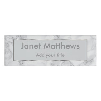 White & Gray Marble and Silver Texture Design Name Tag