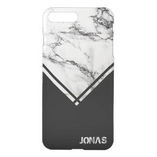 White Gray Marble Stone And Black Stripes iPhone 8 Plus/7 Plus Case