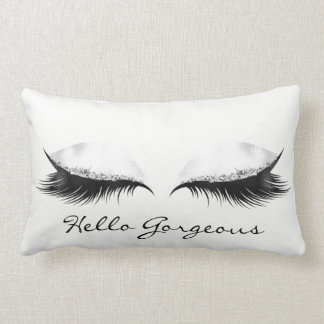 White Gray Metallic Makeup Lashes Hello Gorgeous Lumbar Cushion