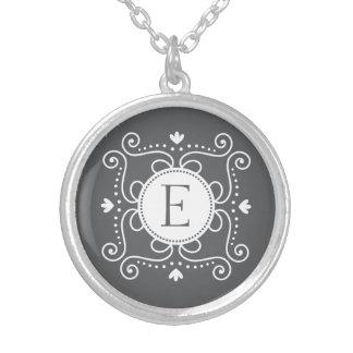 White gray ornament personalized monogram initial pendants
