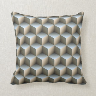 White & Gray Shaded 3D Look Cubes Cushion
