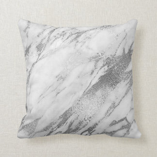 White Gray Silver Glam Marble Cushion