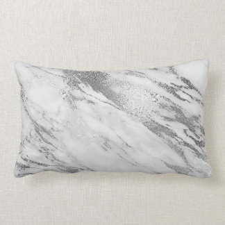White Gray Silver Monochromatic Marble Glam Lumbar Pillow