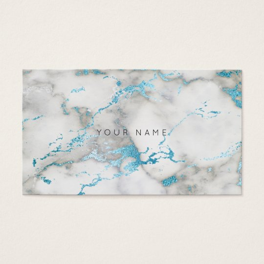 White Gray Turquoise Blue Marble Vip Business Card