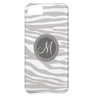 White & Gray Zebra Monogram Pattern iPhone 5C Case