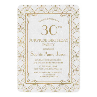 White Great Gatsby Art Deco Gold Birthday Party Card