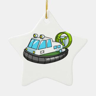 White, Green, and Black Cartoon Hovercraft Christmas Ornament