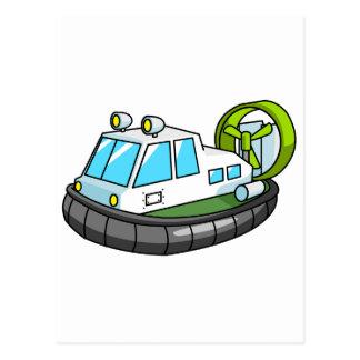 White, Green, and Black Cartoon Hovercraft Postcards