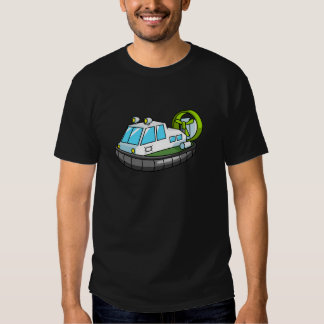 White, Green, and Black Cartoon Hovercraft Tee Shirt