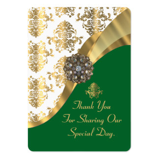 White, green and gold wedding favor thank you tag pack of chubby business cards