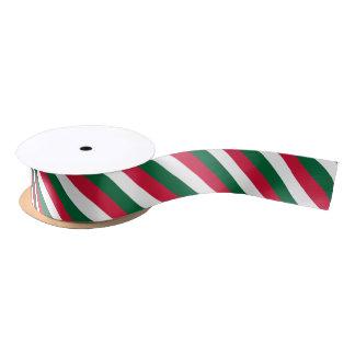 White, green and red colour ribbon satin ribbon