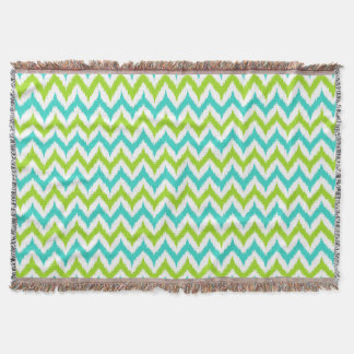White, Green and Turquoise Zigzag Ikat Pattern